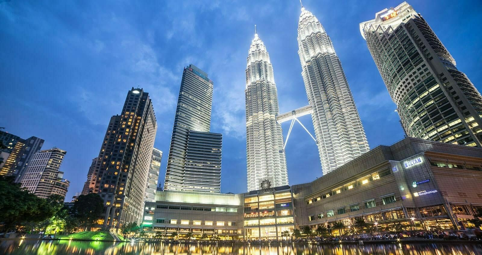 KLCC Twin Towers lit up at night