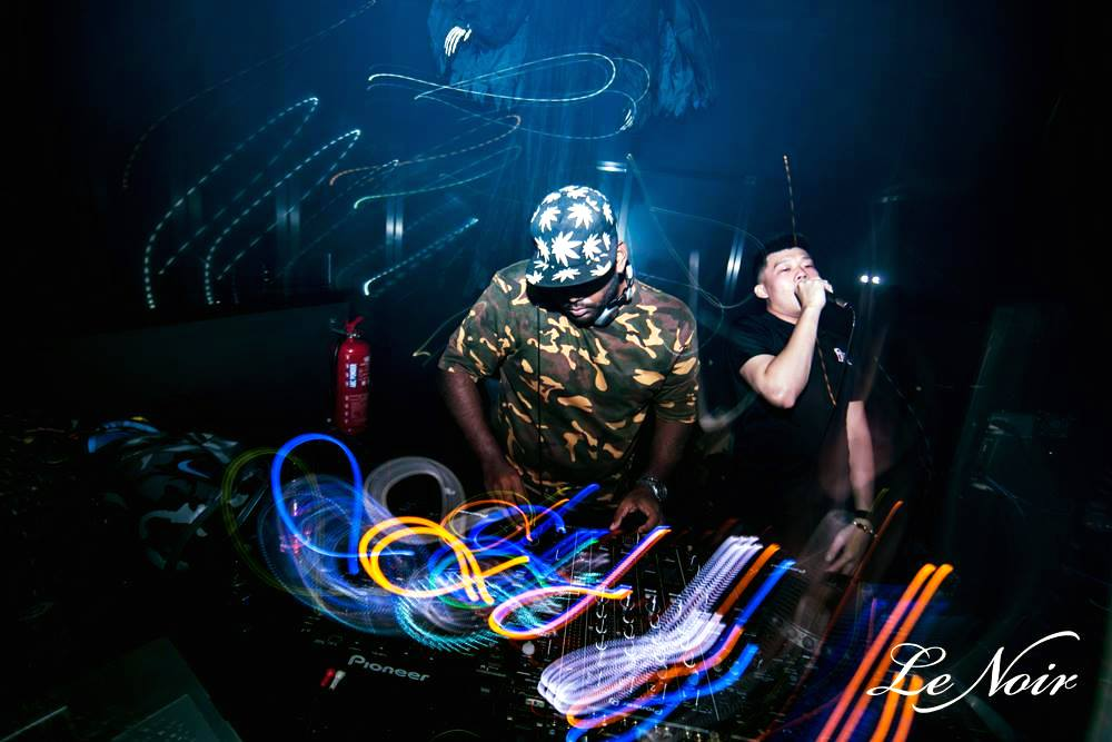Me as a DJ in a nightclub called Le Noir