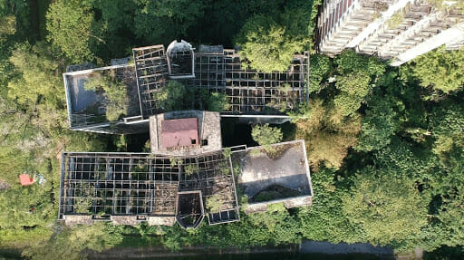 Aerial shot of the Highland Towers
