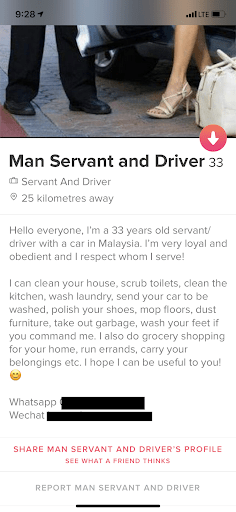 Manservant and driver Tinder profile screenshot