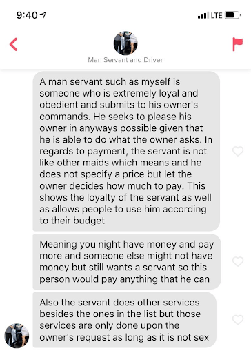 Manservant and driver Tinder conversation