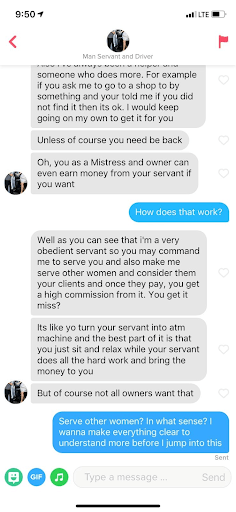 Manservant Tinder conversation how it works