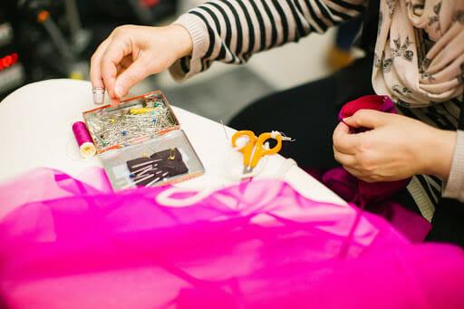 sewing kit, scissors, woman