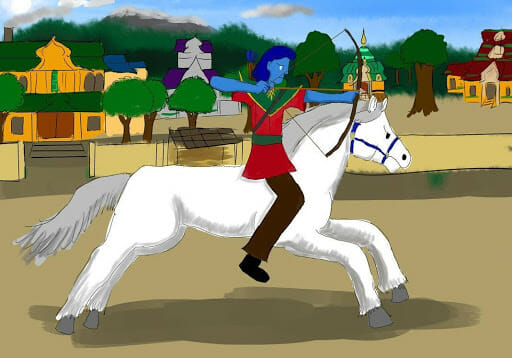 This is one of my older pictures, about the alien Azdortil practicing horse archery. Azdortil is an older work of mine that is a work-in-progress.